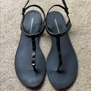 Rebecca Minkoff Black Grace T Strap Stud Sandals